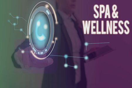 Word writing text Spa And Wellness. Business photo showcasing Place where showing go to improve their health Relaxation