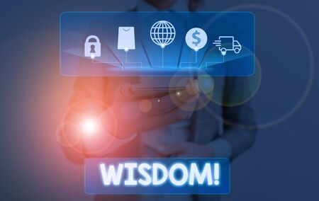 Conceptual hand writing showing Wisdom. Concept meaning the ability to use your knowledge and experience to make decisions Stockfoto
