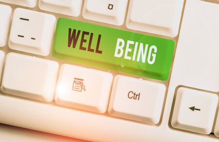 Writing note showing Well Being. Business concept for A good or satisfactory condition of existence including health White pc keyboard with note paper above the white background Zdjęcie Seryjne