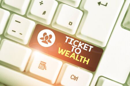 Word writing text Ticket To Wealth. Business photo showcasing Wheel of fortune Passage to Successful and brighter future White pc keyboard with empty note paper above white background key copy space