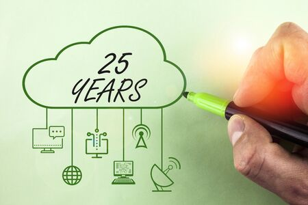 Conceptual hand writing showing 25 Years. Concept meaning Remembering or honoring special day for being 25 years in existence Stock fotó
