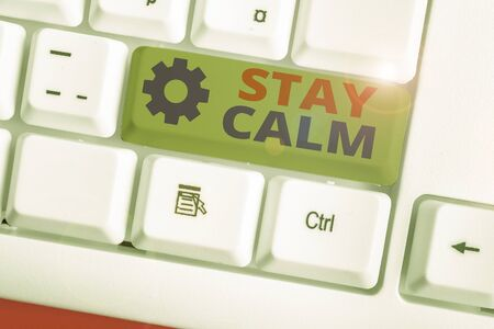 Writing note showing Stay Calm. Business concept for Maintain in a state of motion smoothly even under pressure 版權商用圖片