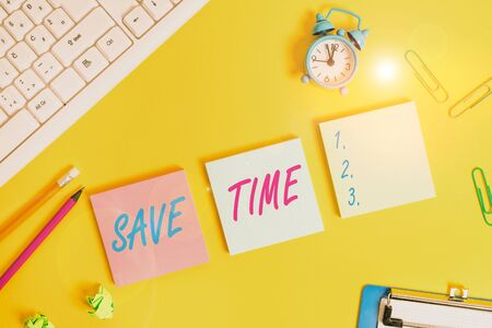 Writing note showing Save Time. Business concept for to do something more efficiently such that less time is required Flat lay above copy space on the white crumpled paper