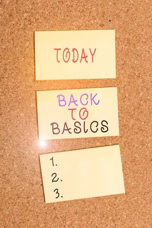 Text sign showing Back To Basics. Business photo showcasing Return simple things Fundamental Essential Primary basis Vertical empty sticker reminder memo square billboard corkboard desk paper