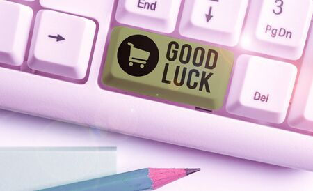 Writing note showing Good Luck. Business concept for wish positive fortune or happy outcome that a demonstrating can have Banque d'images