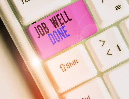 Text sign showing Job Well Done. Business photo text Well Performed You did it Cheers Approval Par Accomplished 写真素材