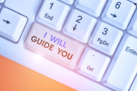Writing note showing I Will Guide You. Business concept for Help showing a route Influence to do or think something