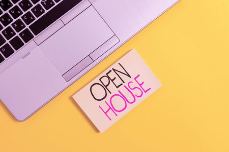Word writing text Open House. Business photo showcasing a place or situation in which all visitors are welcome to go in Slim trendy silver open laptop square sticky notepad colored background