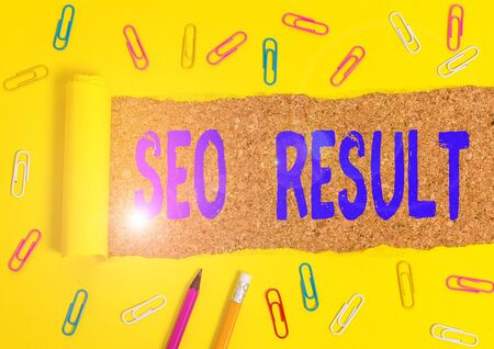 Conceptual hand writing showing Seo Result. Concept meaning the list created by search engines in response to a query Stationary and torn cardboard on a wooden classic table backdrop