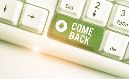 Conceptual hand writing showing Come Back. Concept meaning asking for a demonstrating to return place where love ones resides White pc keyboard with note paper above the white background Stock Photo
