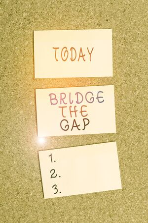 Text sign showing Bridge The Gap. Business photo showcasing Overcome the obstacles Challenge Courage Empowerment Vertical empty sticker reminder memo square billboard corkboard desk paper