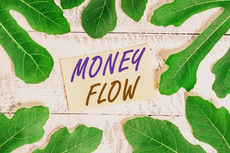 Writing note showing Money Flow. Business concept for the increase or decrease in the amount of money a business Leaves surrounding notepaper above a classic wooden table