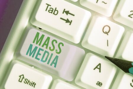 Text sign showing Mass Media. Business photo showcasing Group showing making news to the public of what is happening