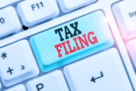 Word writing text Tax Filing. Business photo showcasing Submitting documens filed with tax payer financial information
