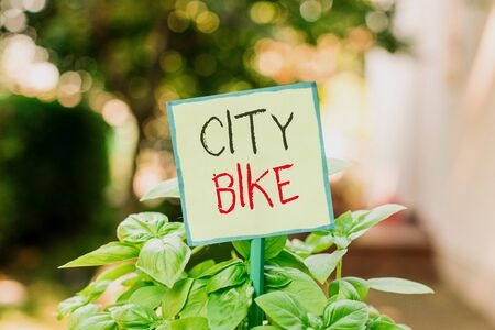 Conceptual hand writing showing City Bike. Concept meaning designed for regular short rides through equally flat urban areas Plain paper attached to stick and placed in the grassy land