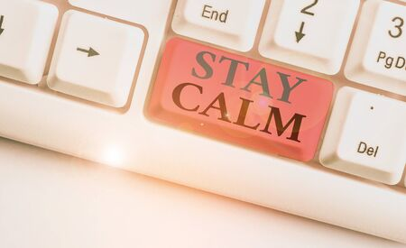 Conceptual hand writing showing Stay Calm. Concept meaning Maintain in a state of motion smoothly even under pressure Stockfoto