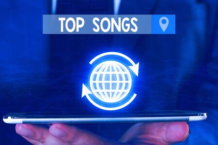 Text sign showing Top Songs. Business photo showcasing recorded song that becomes broadly popular or wellknown