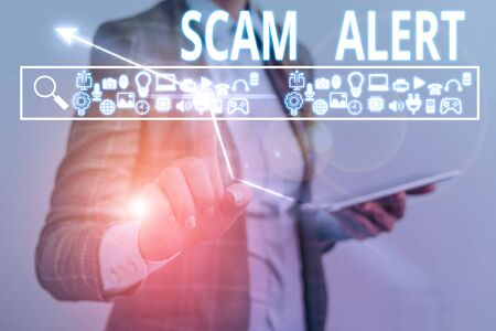 Text sign showing Scam Alert. Business photo showcasing warning someone about scheme or fraud notice any unusual