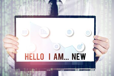 Word writing text Hello I Am New. Business photo showcasing Introduce yourself Meeting Greeting Work Fresh worker School