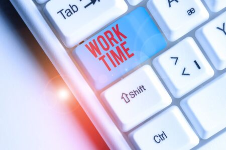 Writing note showing Work Time. Business concept for period starts when temporary workers are engaged at a worksite 스톡 콘텐츠