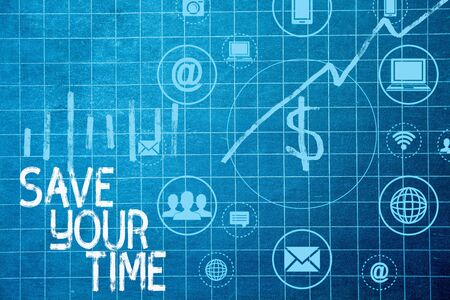 Text sign showing Save Your Time. Business photo text Finding ways to finished the job quick Automation End faster Фото со стока