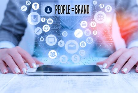 Word writing text People Brand. Business photo showcasing Personal Branding Defining demonstratingality through the labels