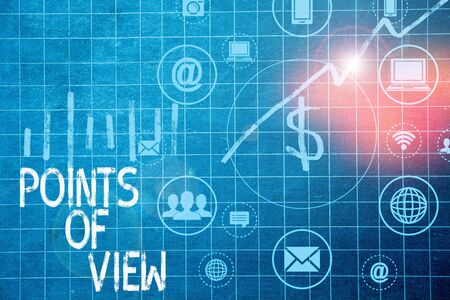 Text sign showing Points Of View. Business photo text Interpretation Opinion Assessment Insight of an individual