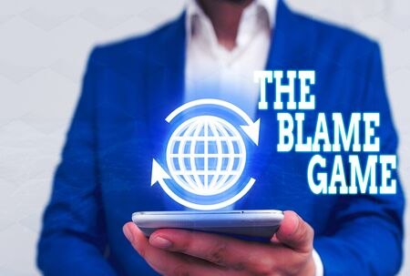 Word writing text The Blame Game. Business photo showcasing A situation when showing attempt to blame one another