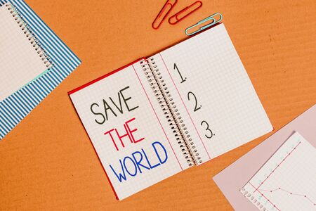 Conceptual hand writing showing Save The World. Concept meaning Protect the environment and the living species Ecosystem Striped paperboard cardboard office study supplies chart Zdjęcie Seryjne - 134312872