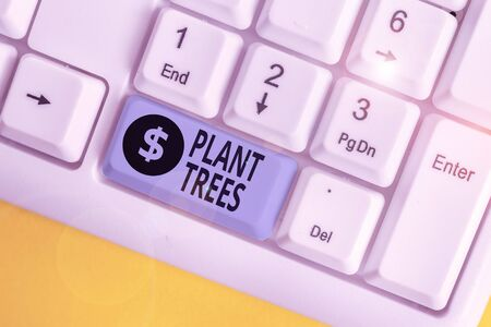 Writing note showing Plant Trees. Business concept for process of planting a tree for land cultivation and forestry White pc keyboard with note paper above the white background Zdjęcie Seryjne - 134312899