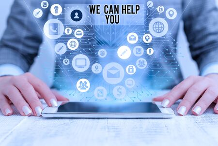 Word writing text We Can Help You. Business photo showcasing Support Assistance Offering Customer Service Attention