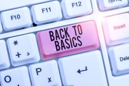 Writing note showing Back To Basics. Business concept for Return simple things Fundamental Essential Primary basis Keyboard with note paper on white background key copy space