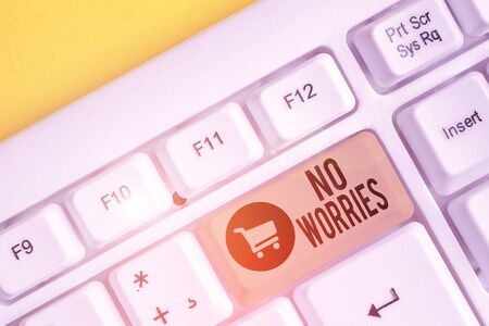 Conceptual hand writing showing No Worries. Concept meaning an expression used to say that everything is all right White pc keyboard with note paper above the white background