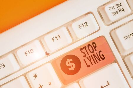 Text sign showing Stop Lying. Business photo showcasing put an end on chronic behavior of compulsive or habitual lying