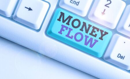 Word writing text Money Flow. Business photo showcasing the increase or decrease in the amount of money a business