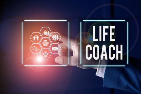 Writing note showing Life Coach. Business concept for someone who helps identify your goals and plan to achieve them Picture photo network scheme with modern smart device