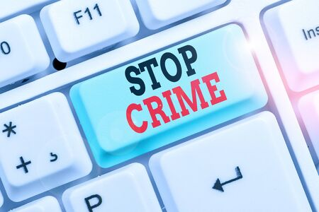 Word writing text Stop Crime. Business photo showcasing the effort or attempt to reduce and deter crime and criminals Banque d'images