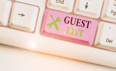 Writing note showing Guest List. Business concept for a list of showing who are allowed to enter the show or an event