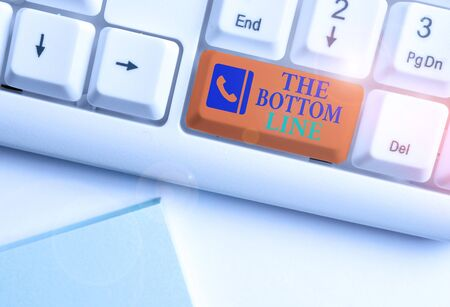 Text sign showing The Bottom Line. Business photo showcasing asking someone to start doing Good perforanalysisce Encourage White pc keyboard with empty note paper above white background key copy space