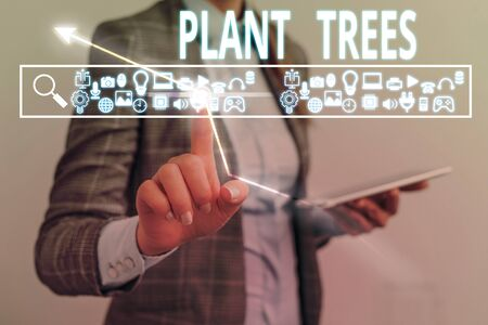Text sign showing Plant Trees. Business photo showcasing process of planting a tree for land cultivation and forestry Zdjęcie Seryjne - 134314816