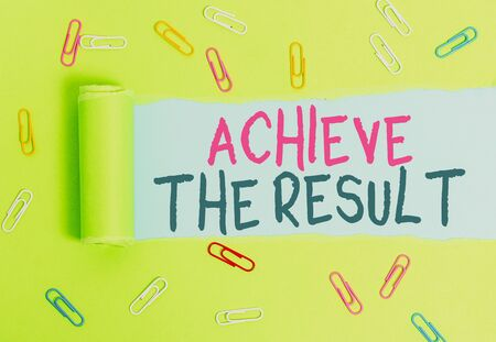 Writing note showing Achieve The Result. Business concept for Receive successful result from hard work make you happy Paper clip and torn cardboard on wood classic table backdrop Stockfoto
