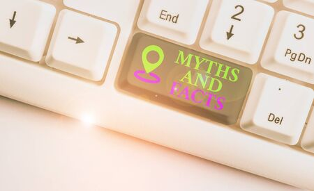 Text sign showing Myths And Facts. Business photo text Oppositive concept about modern and ancient period White pc keyboard with empty note paper above white background key copy space