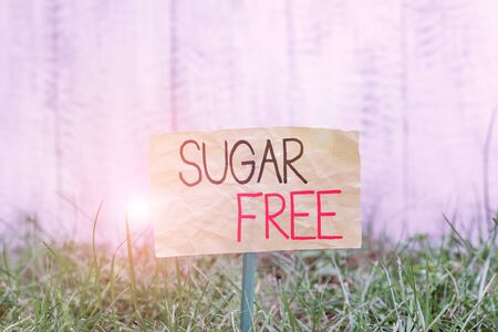 Handwriting text writing Sugar Free. Conceptual photo containing an artificial sweetening substance instead of sugar Plain empty paper attached to a stick and placed in the green grassy land Zdjęcie Seryjne - 134314324