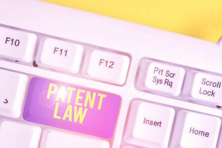 Text sign showing Patent Law. Business photo text deals with an inventor s is exclusive right to use own invention White pc keyboard with empty note paper above white background key copy space Фото со стока
