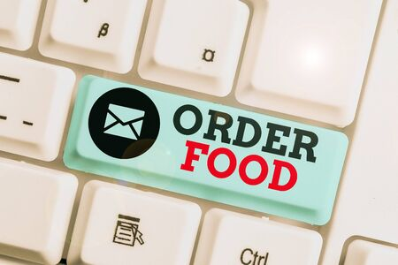 Word writing text Order Food. Business photo showcasing the process of requesting a preferred food in a restaurant Stockfoto