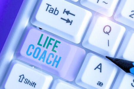 Text sign showing Life Coach. Business photo showcasing someone who helps identify your goals and plan to achieve them