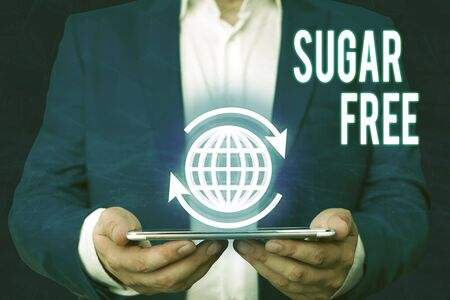 Word writing text Sugar Free. Business photo showcasing containing an artificial sweetening substance instead of sugar Zdjęcie Seryjne - 134315063
