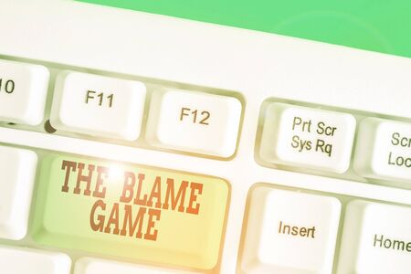 Conceptual hand writing showing The Blame Game. Concept meaning A situation when showing attempt to blame one another Stock fotó