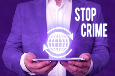 Word writing text Stop Crime. Business photo showcasing the effort or attempt to reduce and deter crime and criminals