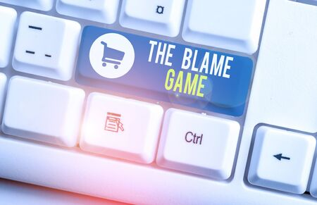 Word writing text The Blame Game. Business photo showcasing A situation when showing attempt to blame one another White pc keyboard with empty note paper above white background key copy space Standard-Bild